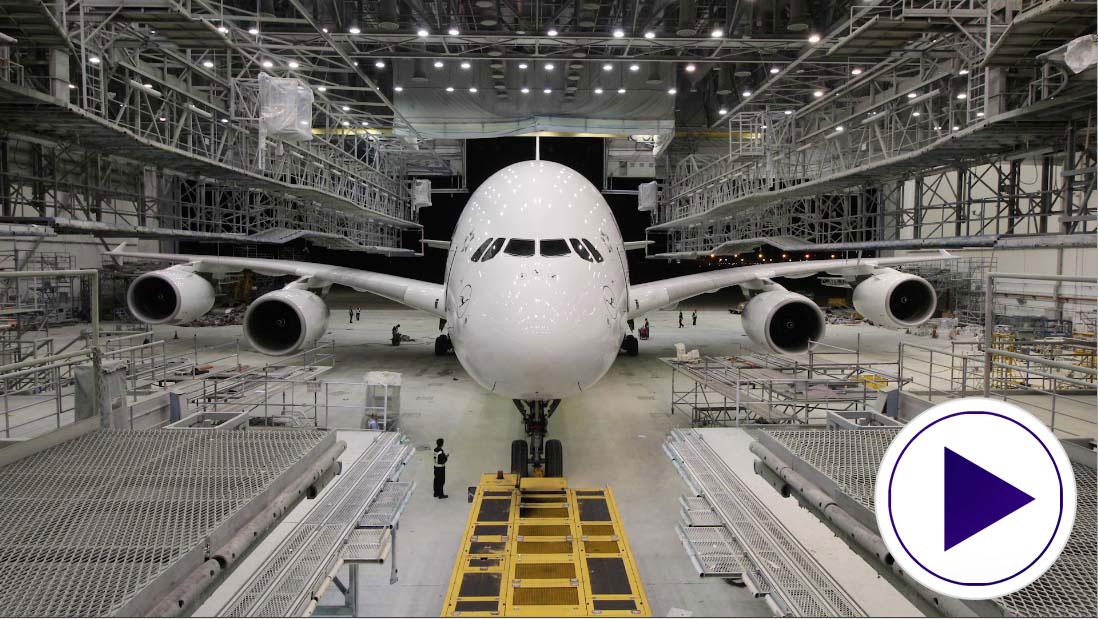 Lufthansa A380 Video play button